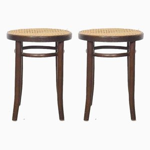 Vintage Wooden & Rattan 4601 Stools by Michael Thonet, Set of 2