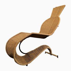 Chaise longue de ratán, años 90