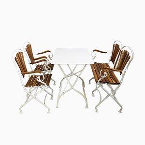 Panca, due poltrone e tavolo pieghevole da giardino Art Nouveau, anni '10