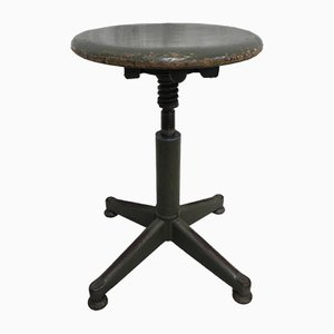 Industrial Steel & Wooden Stool, 1950s
