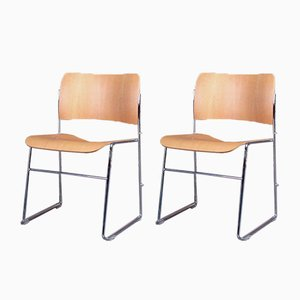 Mid-Century Beech and Chromed Steel Model 40/4 Dining Chairs by David Rowland for Howe, Set of 2
