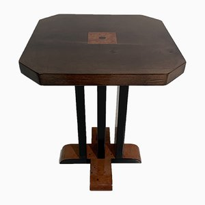 Italian Wood and Parchment Side Table, 1980s