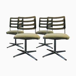 Sedie girevoli in lucite e metallo cromato, anni '60, set di 4