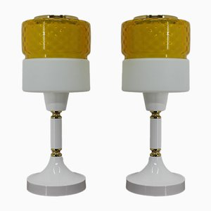 Glass & Metal Table Lamps, 1970s, Set of 2