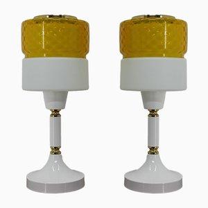 Lampade da tavolo in vetro e metallo, anni '70, set di 2