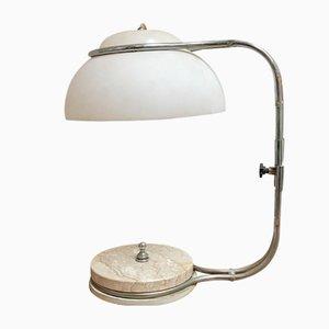 Italian Marble, Plexiglass & Chromed Steel Table Lamp, 1970s