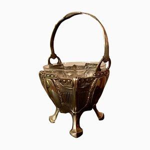 Antiker Korb aus Silber & Glas