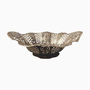 Antiker dekorativer Teller oder Korb aus Silber