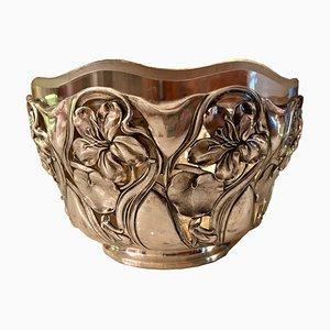 Antique Art Nouveau Silver & Glass Basket