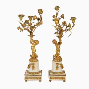 Antique Gilt Bronze & Marble Candleholders, Set of 2