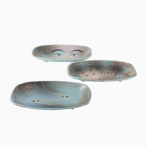 Antike emaillierte Art Déco Keramikteller, 3er Set