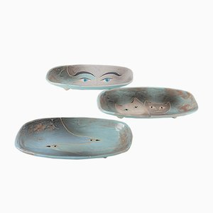 Antique Art Deco Enameled Ceramic Plates, Set of 3
