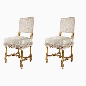 Antike Beistellstühle aus geschnitztem & vergoldetem Holz, 2er Set