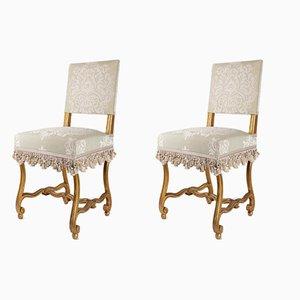 Sedie antiche intagliate e in legno dorato, set di 2