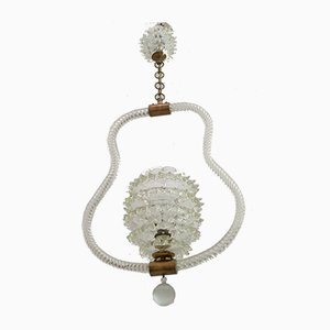 Lampada da soffitto in vetro di Murano di Ercole Barovier per Barovier & Toso, anni '40
