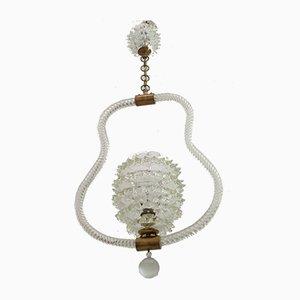 Lámpara de techo de cristal de Murano de Ercole Barovier para Barovier & Toso, años 40