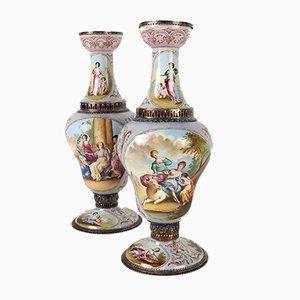 Antike emaillierte Vasen, 2er Set