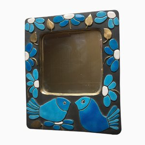 Vintage Ceramic Mirror by François Lembo