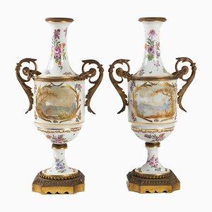 Antique Porcelain and Gilt Bronze Vases, Set of 2