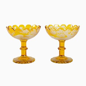 Antique Bohemian Crystal Bowls, Set of 2
