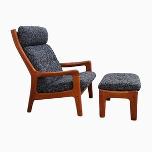 Teak Lounge Chair and Ottoman by Gustav Thams for Vejen Polstermøbelfabrik, 1960s, Set of 2