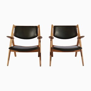 Oak and Leather Model Sawbuck Lounge Chairs by Hans J. Wegner for Carl Hansen & Søn, 1950s, Set of 2