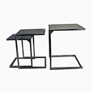 Tavolini ad incastro in metallo cromato e vetro, anni '70