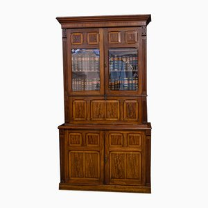 Antique Victorian Mahogany Bookcase Secretaire