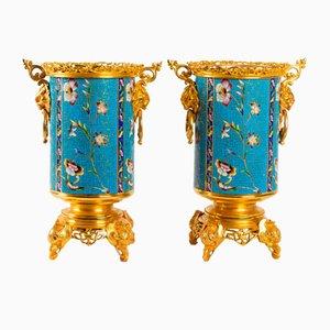 Antique Gilt Bronze and Enamel Vases, Set of 2