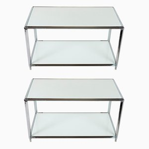 Chrome Steel Coffee Tables, 1970s, Set of 2