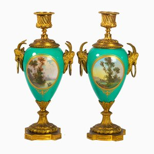 Antique Porcelain and Golden Bronze Candleholders, Set of 2