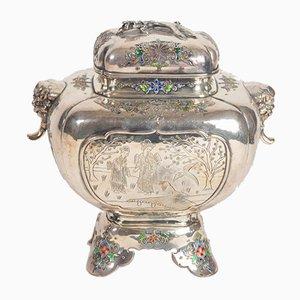 Antiker Duftbrenner aus Silber & Emaille