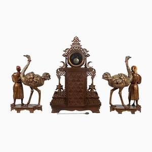 Antique Decorative Clock & Candleholder Set, Set of 3
