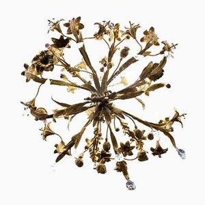 Lampadario antico in bronzo dorato e cristallo