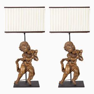 Antike Tischlampen aus geschnitztem Holz, 2er Set