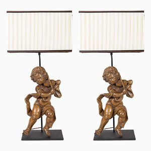 Antique Carved Wood Table Lamps, Set of 2