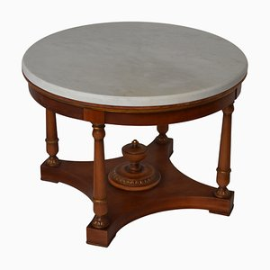Italian White Marble & Cherry Coffee Table from Cupioli