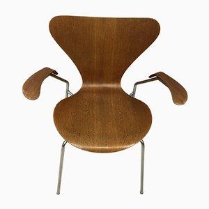 Sedia da pranzo AJ3207 in teak di Arne Jacobsen per Fritz Hansen, Danimarca, anni '50