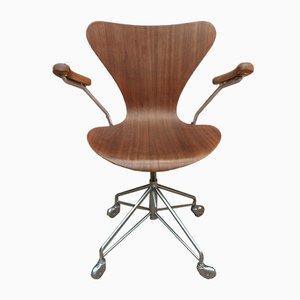 Silla auxiliar vintage de teca de Arne Jacobsen, años 60