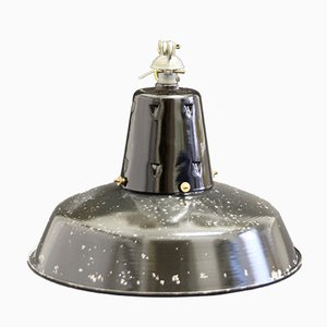 Mid-Century French Industrial Enameled Pendant Lamp