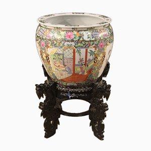 Jarrón chino de cerámica esmaltada, pintada y dorada, años 70