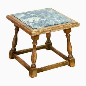 Säulentisch aus Holz mit Marmorplatte, 1930er