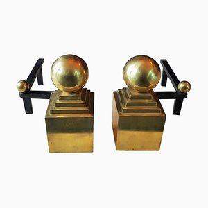 French Brass and Wrought Iron Andirons by Jacques Adnet, 1940s, Set of 2