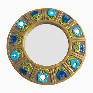 Mid-Century Spiegel mit glasiertem Keramikrahmen von François Lembo, 1960er
