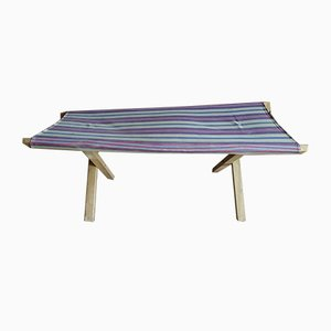Small Italian Wood & Fabric Folding Cot, 1960s