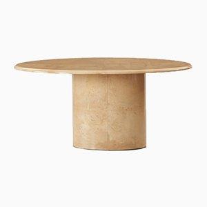 Mesa de comedor ovalada de piel de cabra lacada de Aldo Tura, años 60