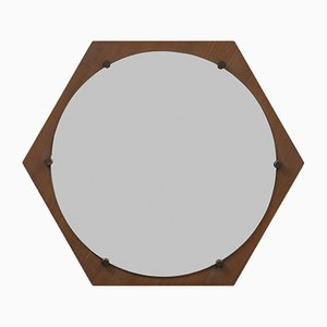 Mid-Century Hexagonal Teak Wall Mirror from ISA Bergamo, 1960s