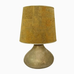 Hammered Metal and Cork Table Lamp, 1970s