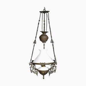 Antike italienische Deckenlampe aus Muranoglas & Bronze