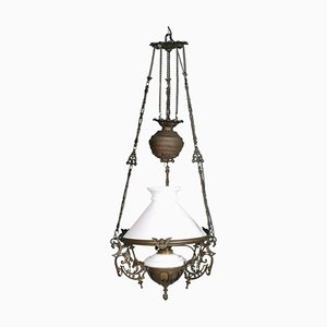 Antique Italian Murano Glass and Bronze Ceiling Lamp